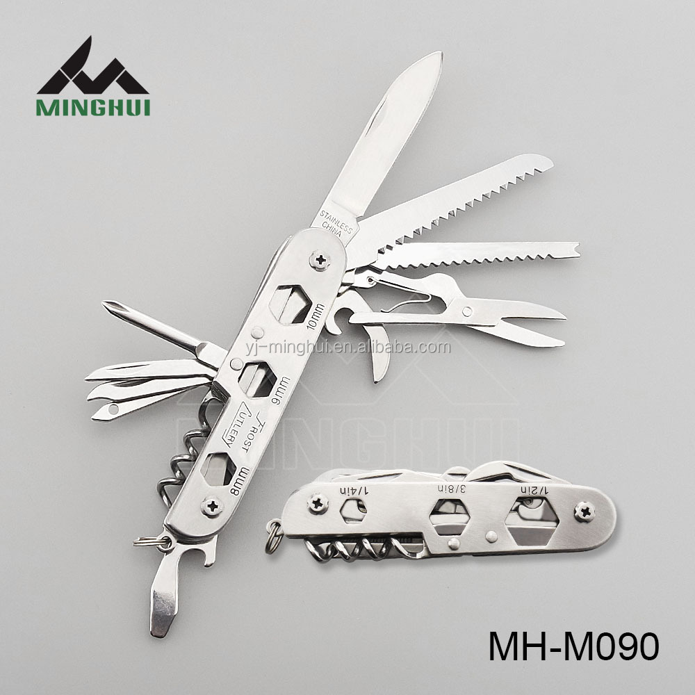 Multi use pocket knife in stainless steel