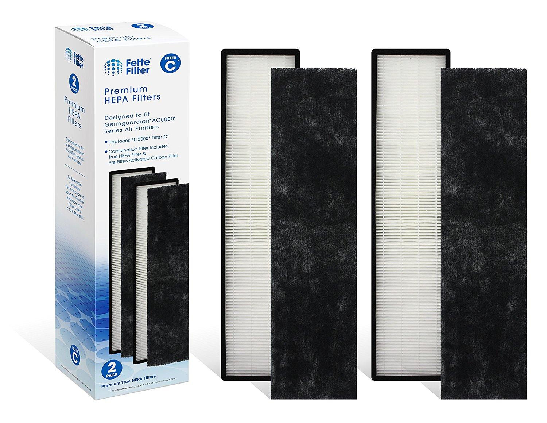 2-Pack - Fette Filter True HEPA Filter Compatible with GermGuardian FLT5000 models AC5250PT,AC5300B,AC5350W,AC5350B,AP2800CA, Black+Decker BXAP250 and Lowe's Idylis IAP-GG-125 Air Purifiers