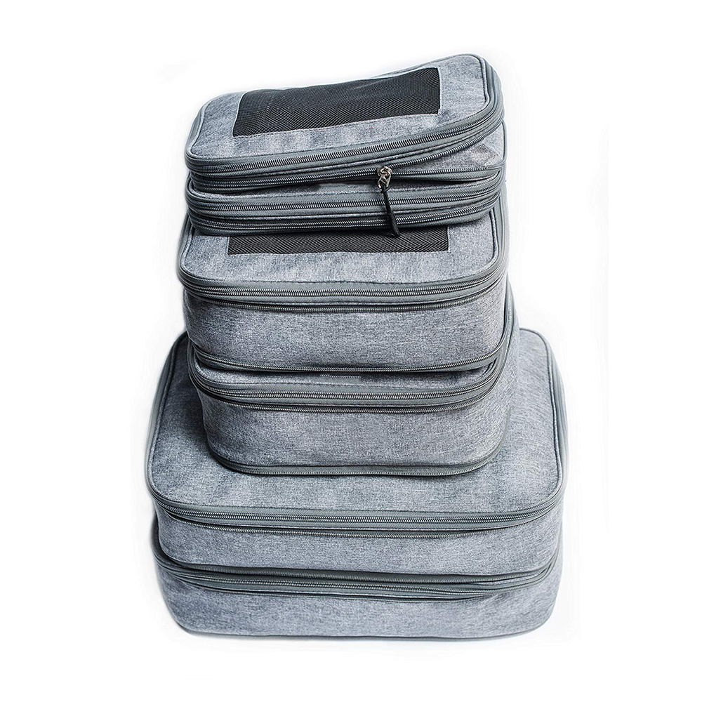 6 pieces <strong>Travel</strong> Compression Packing Cubes set Luggage Organizers bag for <strong>Travel</strong>
