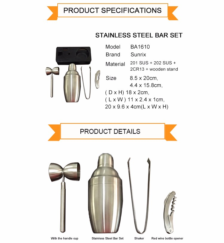 Wholesale Useful Stainless Steel Bar Tool Set