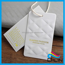 High End branco grosso <span class=keywords><strong>papel</strong></span> <span class=keywords><strong>hangtag</strong></span> com logotipo emboss