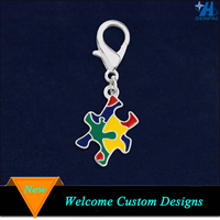 Wholesale Autism Awareness Jewelry Colorful Enamel Puzzle Piece Charm