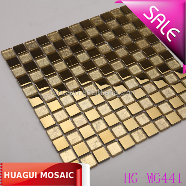 Bathroom luxury stainless steel mix gold foil glass mosaic tile