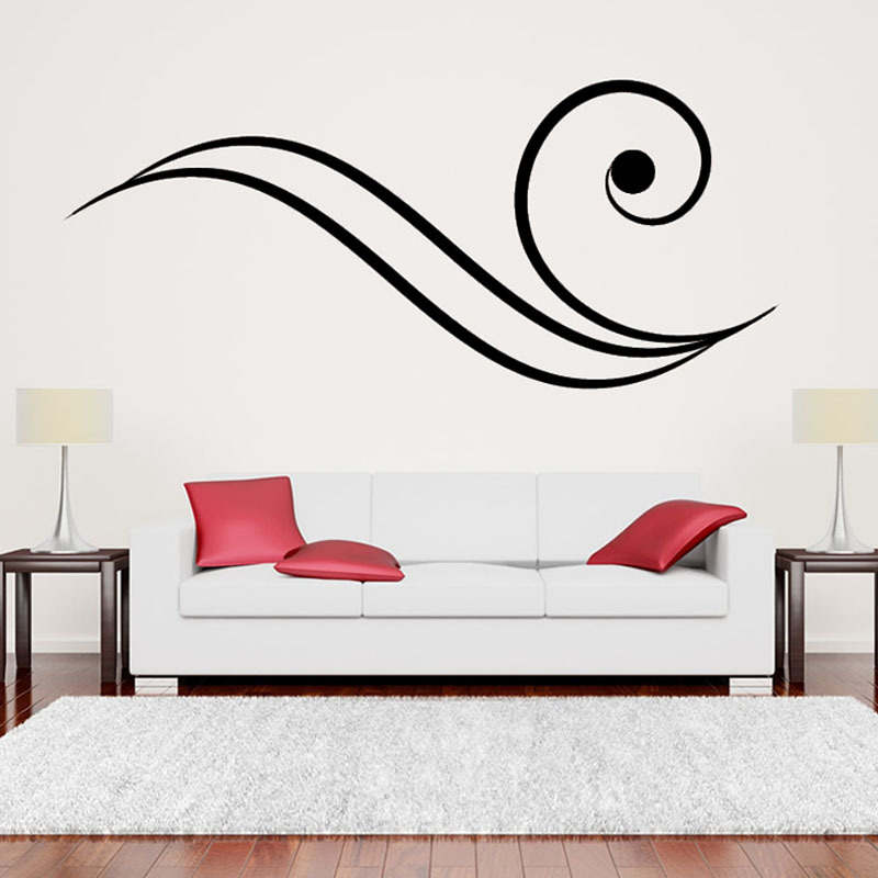 Fashion Simple Home Decor Black Removable Swirl Shape Sofa Background Living Room Wall Sticker