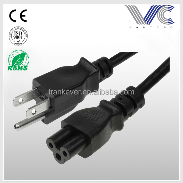 Universal 1 feet 3-Slot Notebook AC Power Cord IEC320 C5 to NEMA 5-15P
