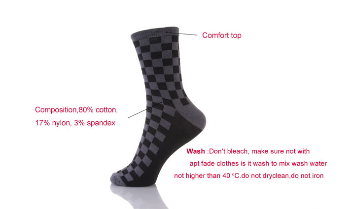 Cotton Slouch Tartan Men's Black Socks Crew