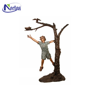 Top selling outdoor decoration bronze boy catching birds sculpture NT-0059RI