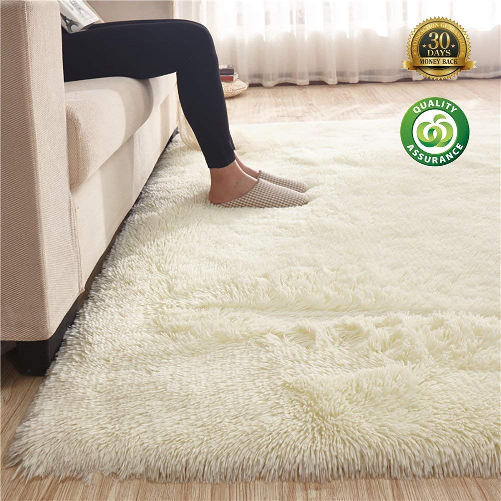 "HIGOGOGO Ultra Soft Shag Rug 78.74"" by 98.42"" Fluffy Rug for Bedroom Living Room Silky Smooth Fluffy Rugs Anti-Skid Shaggy Area Rug Dining Room Home Bedroom Carpet"
