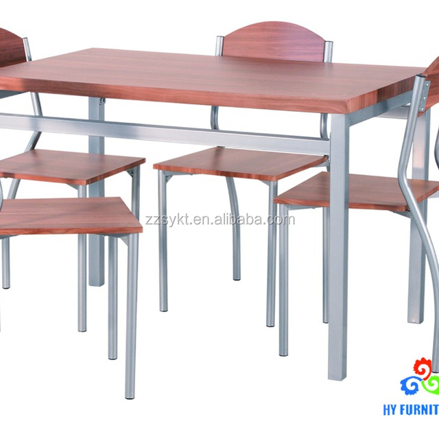 Heavy Duty Restaurant Furniture Metal Wood Dining Table Chairs Sets  Wholesale
