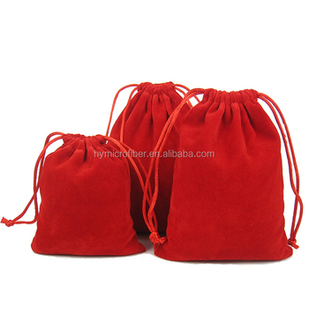 Wholesale cheap pink white cosmetic wig storage bag velvet jewelry bag with drawstring