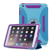 For Apple iPad Mini 3 Cover Shock Proof Tablet Silicone Hard Case with PU Leather Stand