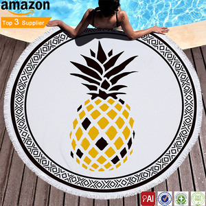 Factory made Ultra fine fiber printed circular tropical plant pineapple multi-function beach towel microfiber round beach towel
