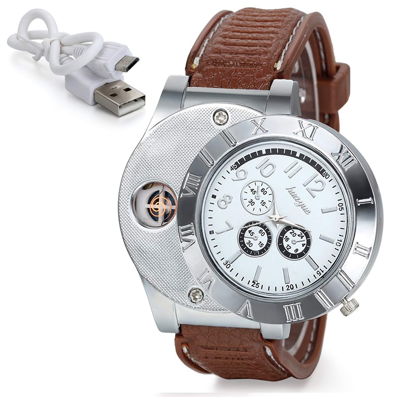 JewelryWe Fathers Day Gift Cigarette Lighter Watch USB Charging Mens Novelty Quartz Wrist Watch ¡
