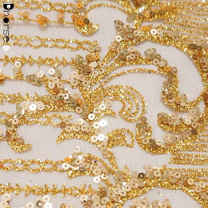 Valuable Atmosphere Golden Banquet Dress Lace Fabric