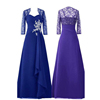 Real Picture Royal Blue Mother of the Bride Dresses Suits with Jacket Cape for Evening Party