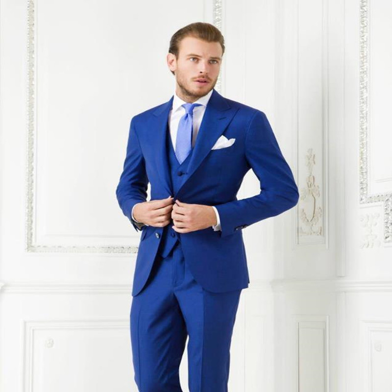 44fe191f26f Get Quotations · 2015 royal blue terno party formal slim fit custome homme men  suits with pants wedding groom