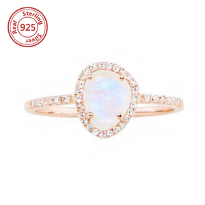 Rainbow Moonstone Engagement Ring Rose Gold Wedding Ring Solitaire Gemstone Ring