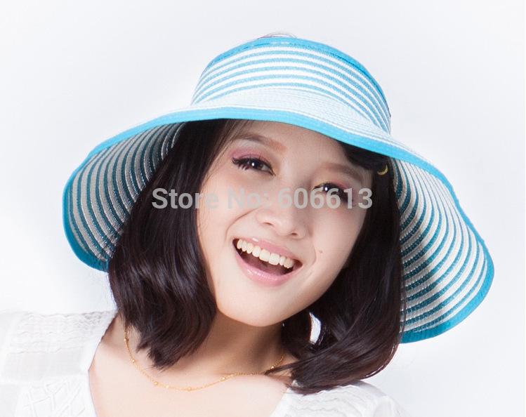 Wholesale Summer Striped Roll Up Wide Brim Sun Visor Hat Foldable ... 2f3e6e8ecbf