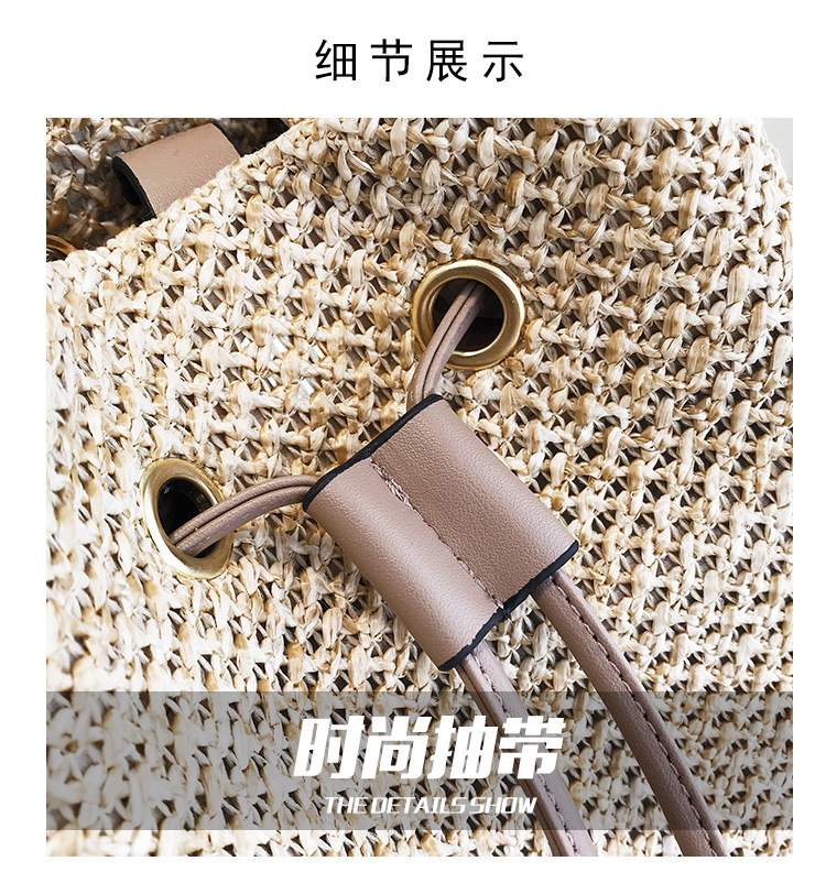 New 2019 summer bamboo fashion handbag single shoulder straw  cross bucket bag
