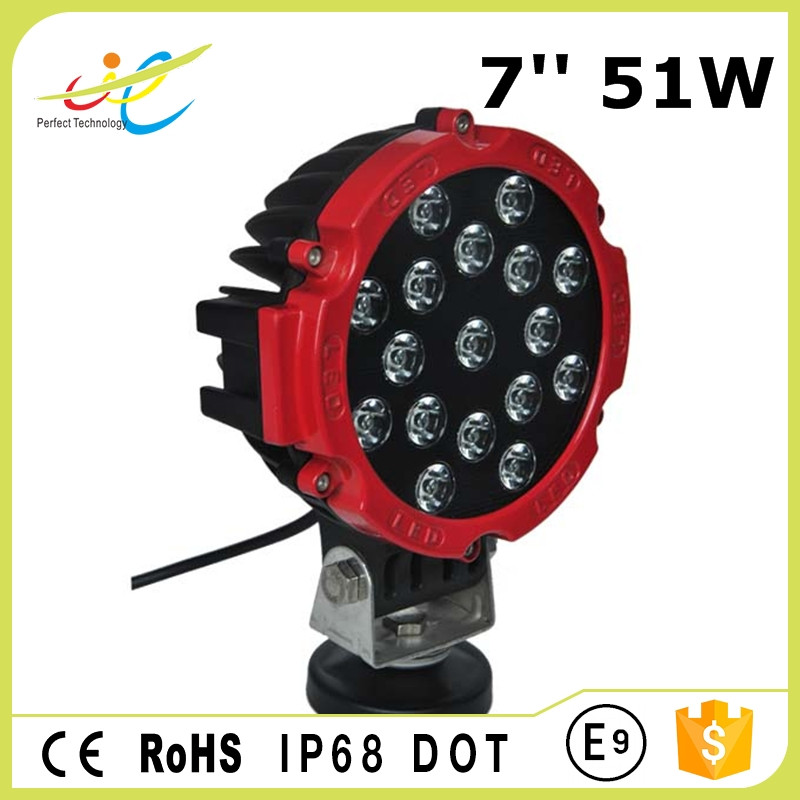 DOT approved 51W 7inch led driving light round 51W led work lamp for offroad truck