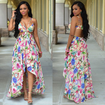 a4a7d94f72d Women Sexy Summer Off Shoulder Vintage Boho Long Maxi Evening Party Beach  Dress Floral Print Backless