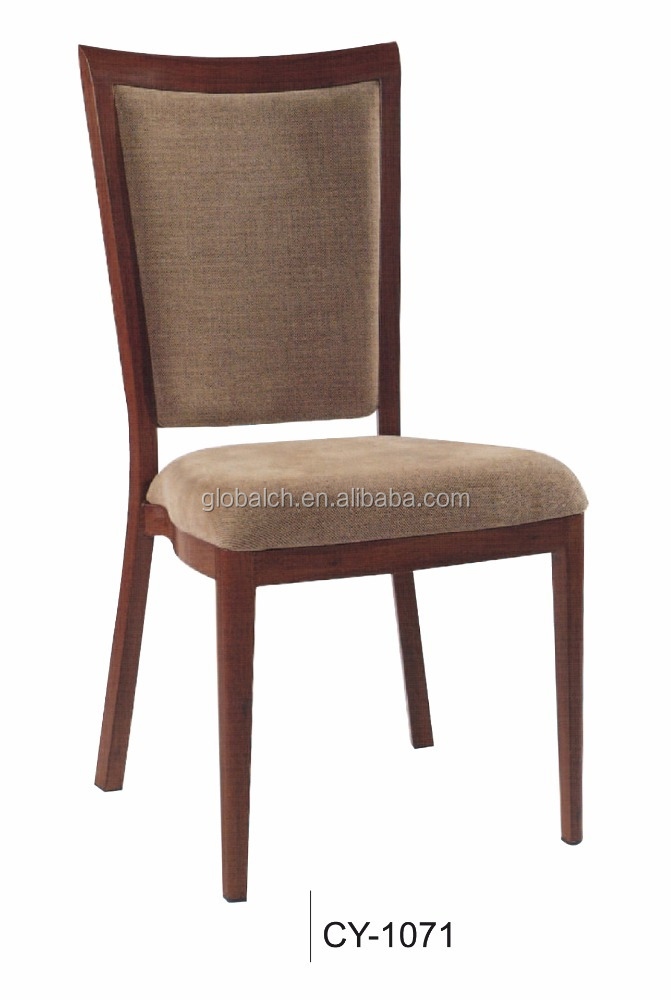 Outdoor Stacking Metal Wooden Imitated Dining Chair For Wedding Event