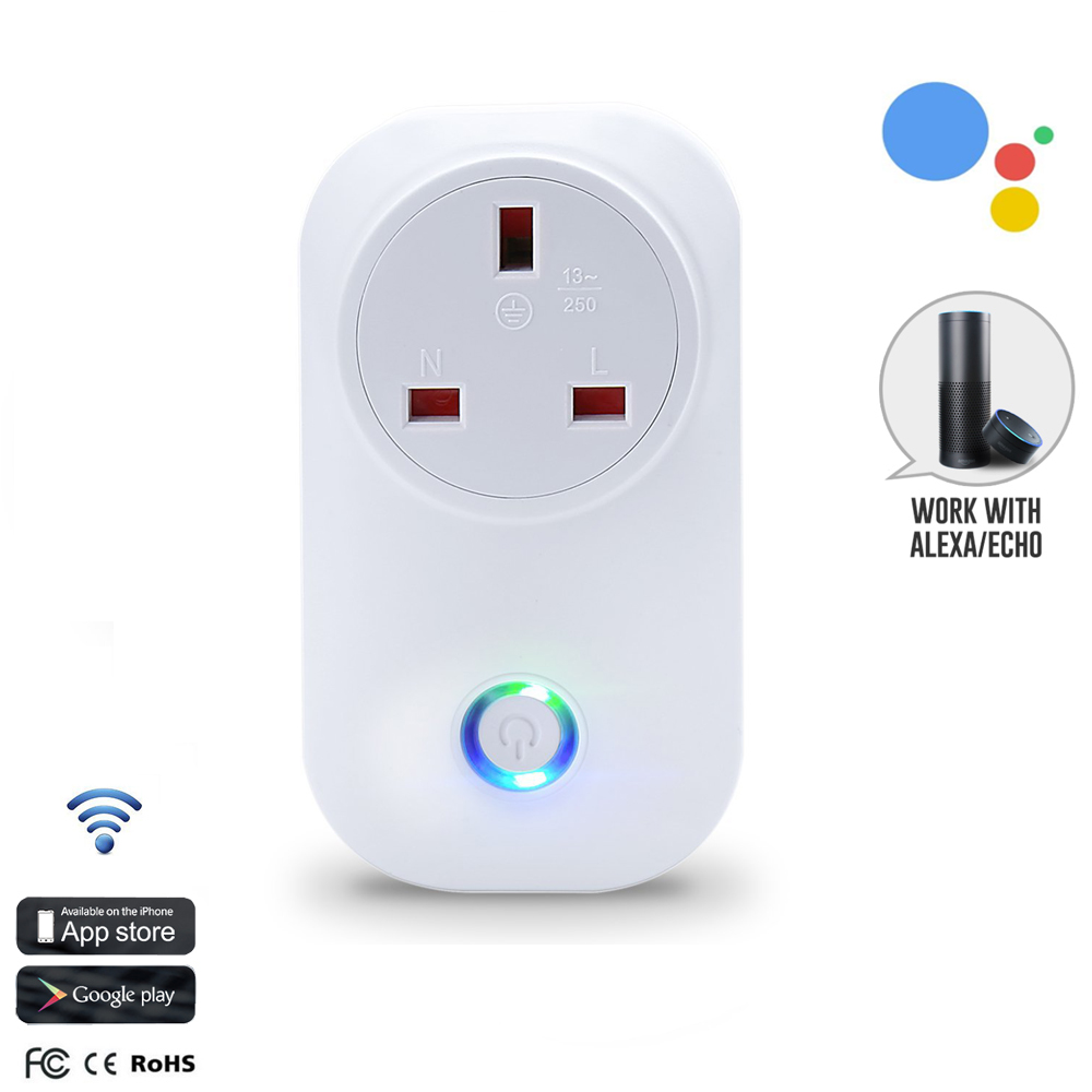 Smart Plug Wi-Fi Socket Outlet Works with Amazon Alexa Wireless Control Your Devices from Anywhere with Timing Function by phone