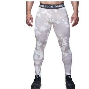 cheap custom printed mesh fitness yoga pants men compression tights