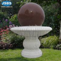 White Marble Carved Red Rotating Ball Water Fountain