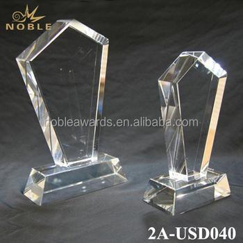 Custom Design Crystal Glass Trophy Award Plaque For Graduation Souvenir