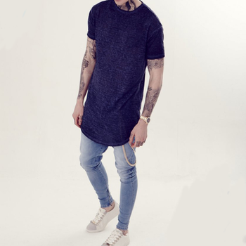 Yihao Mens T-shirt Burn-out Curved Hem Tee Navy Oil Dye Mens T-shirt Mens  Tee 2016 New Fashion Design China Oem Manufacturer - Buy Printed  T-shirt,New