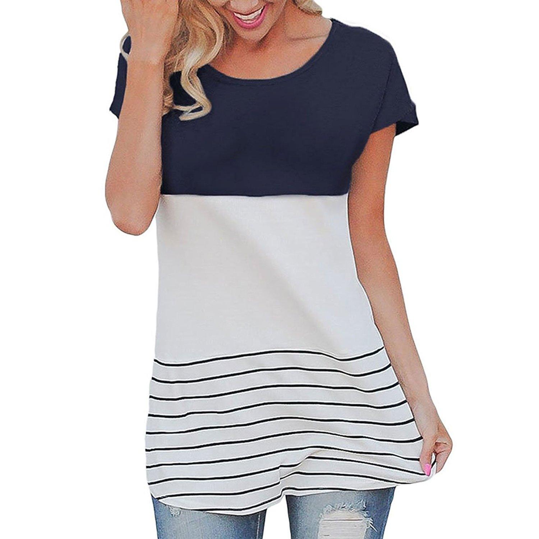 Cowear Women's Stripe Color Block Back Lace Tops Short Sleeve T Shirts Blouses
