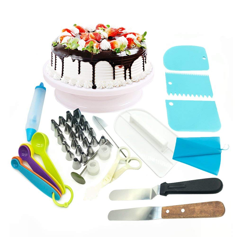 40pcs/pack Cake Decorating Supplies, Professional Cupcake Decorating Kit, Baking Supplies- Rotating Turntable Stand, Frosting & Piping Bags and Tips Set, Icing Spatula and Smoother, Pastry Tools