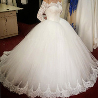 ZH1457G Stunning Lace Appliques Tulles Bateau Long Sleeves Princess Ball Gown Wedding Dresses