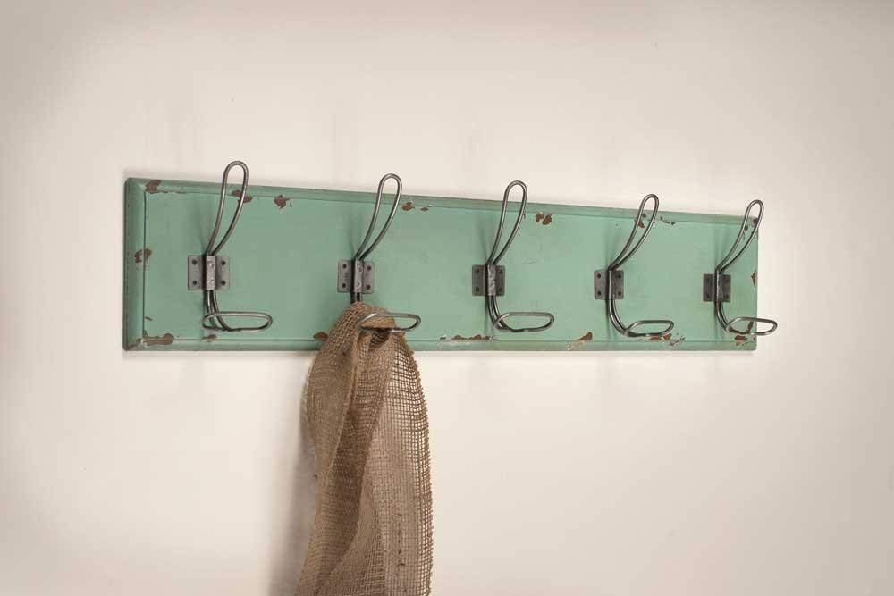 Colonial Tin Works Wall Mounted Entryway Rack with 5 Hooks Distressed Wood Rustic Farmhouse Style Wall Decor Green
