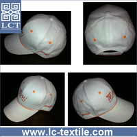 wholesale 2015 unique design plain white 6 panel embroidery 100 cotton twill baseball cap with all over piping(LCTC0238)