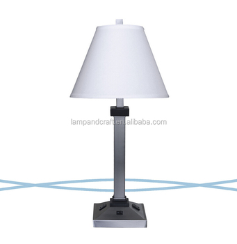 super 8 hotel room lamp set with 2 power outlet and switch in the base