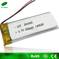 501645 small rechargeable li-ion battery 3.7v 360mah battery for ipod touch 5