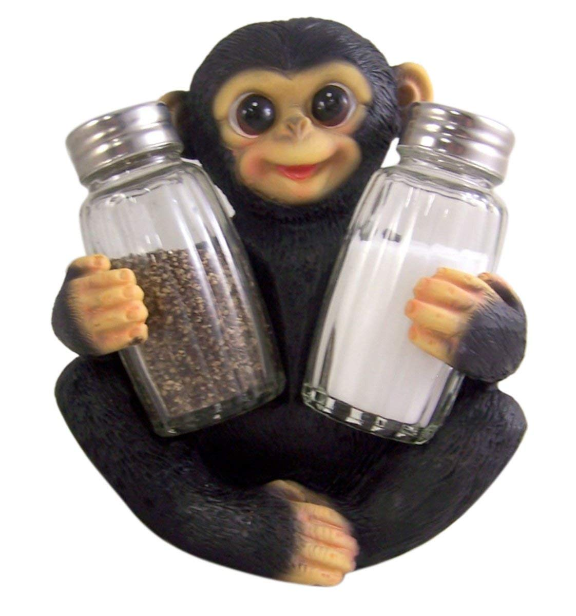 Whimsical Chimpanzee Resin Figurine Salt and Pepper Shaker Holder (Shakers Included)