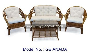Living Room Natural Rattan Sofa Set With Coffee Table Indoor Armchair For