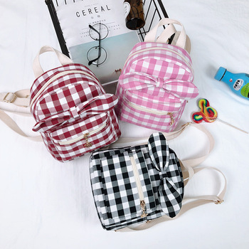 Fashionable Gingham Children Backpacks Travelling Bags Girl School Bag