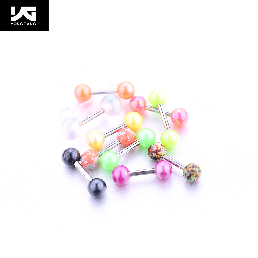 Colorful Stainless Steel and Acrylic Stud Earrings,With Two Ball Earrings,Daily Wear Earrings For Boys and Girls .