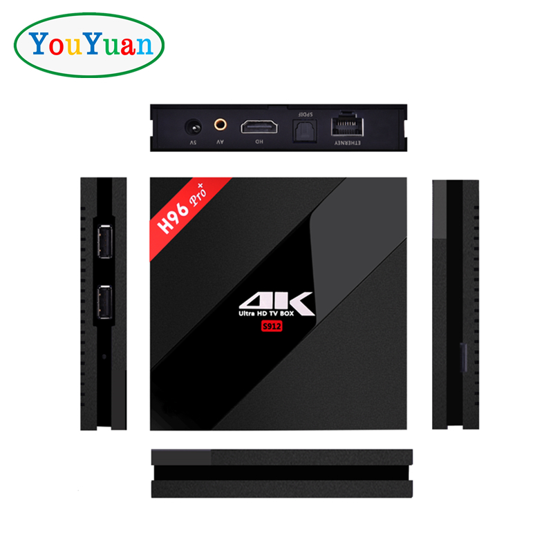 Free Cusotm Logo amlogic s912 tv box android 7.1 4k h96 pro plus 3gb 32gb android tv box kodi 17.4 from YOUYUAN