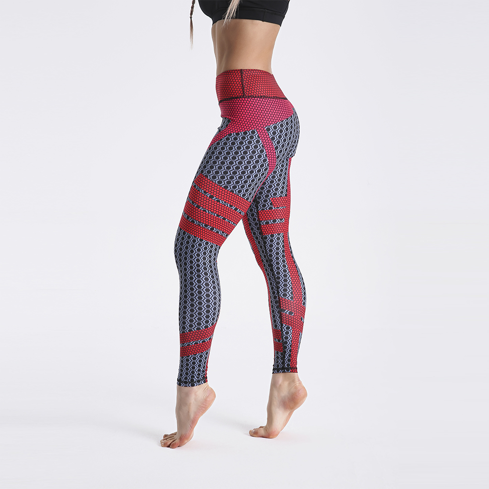 Drop shipping Casual Personally Leggings Long Pants High Waist Pants Red Black Plaid Print Fitness Quick Drying Clothes фото