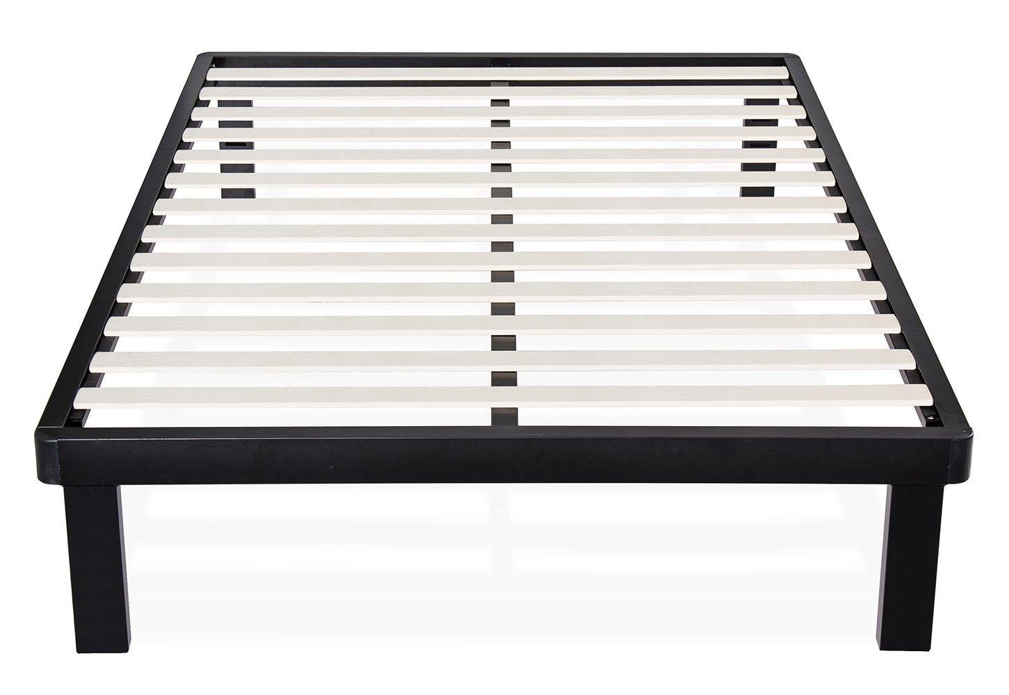 Olee Sleep 14 Inch Tall Dura Metal Wood Slat Bed Frame Matress Foundation 14BF03 (Twin)