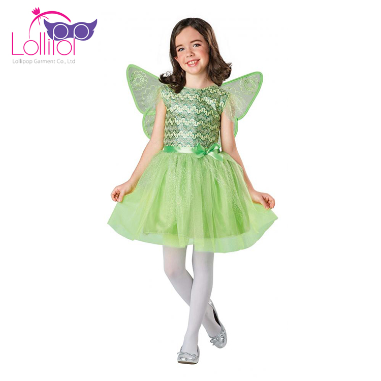 Professional custom shinning green children elf costume with butterfly wing