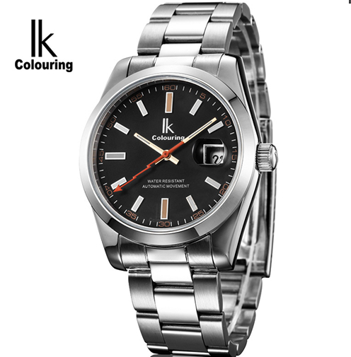 2015 IKcolouring Luxury Business Mens Automatic Wrist watches Full Steel Strap Calendar Self Wind Waterproof Mechanical Clock