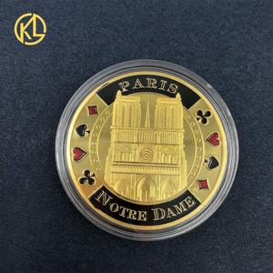 Pride of France Notre dame de Paris Metal Commemorative Souvenir Coins with nice box for Collectible Gifts For Business
