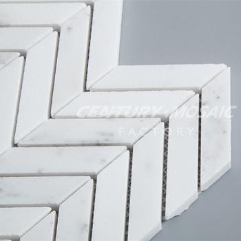 Blanc Interieur En Marbre Carrelage Mural Chevron Mosaique Motif