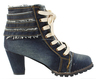 Lady Sexy Shoes,Women's Denim Canvas Zipper High Heel High Top Wedge Shoe Boot